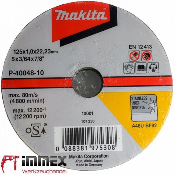 Makita Trennscheiben Trennscheibe Winkelschleifer 10x 125x1,0mm INOX P-40048-10