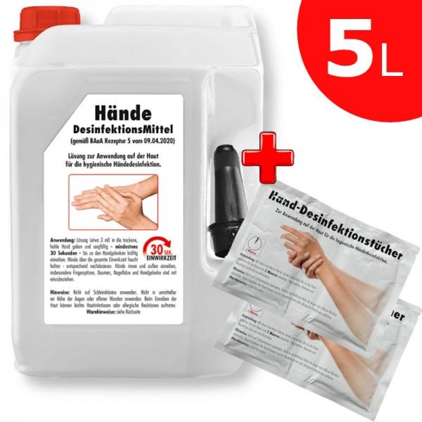 SONAX Hände-Desinfektionsmittel Hand/Flächen 5L+ Desinfektionstücher