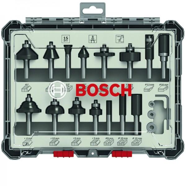 Bosch Fräser-Set 15-teilig 8mm Schaft 2607017472