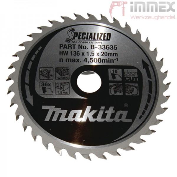 Makita Sägeblatt 136x20mm 36 Zähne Holz B-33635