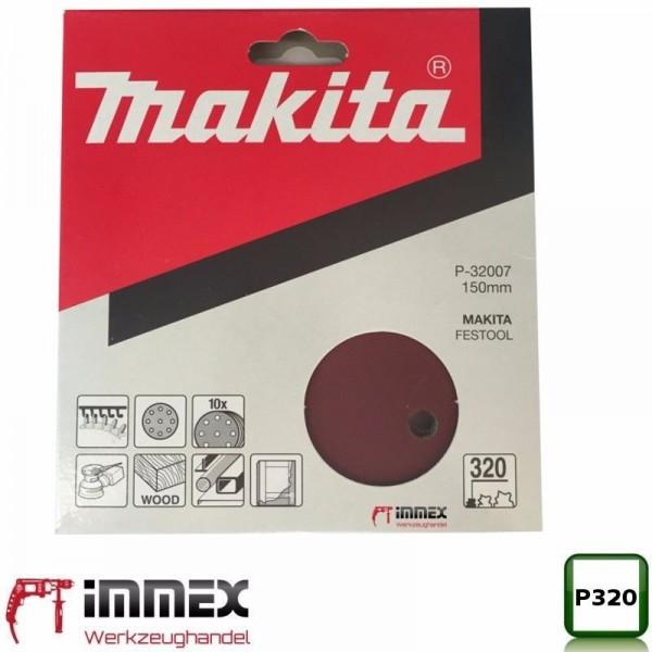 Makita Exzenterschleifer Exzenter 10x Schleifpapier 150mm P320 P-32007