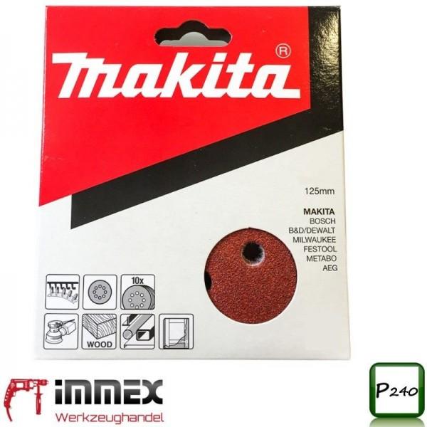 Makita Schleifscheiben 10x 125mm P240 P-43599