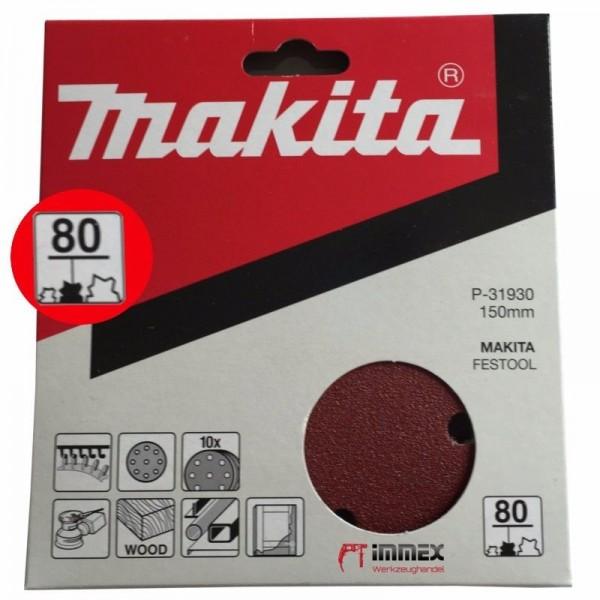 Makita Exzenterschleifer Schleifpapier 150mm P80 P-31930 VOM FACHHANDEL !