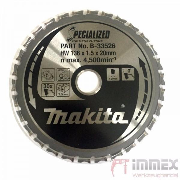Makita Sägeblatt 136x20mm - 30 Zähne Metall B-33526